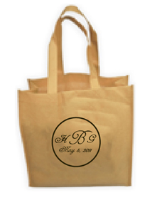 """Monogrammed Eco-Friendly 13"""" Non Woven Tote Bags  for Weddings"""
