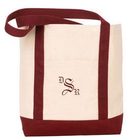 Wedding Monogrammed Canvas Boat Tote
