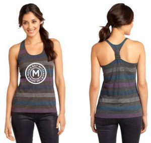 District - Juniors Reverse Striped Scrunched Back Tank