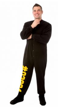 Micro-Polar Fleece Adult Footed Pajamas in Black