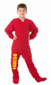 Red Fleece Kids Footed Pajamas Onesie