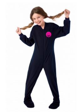 Navy Fleece Kids Footed Pajamas Onesie