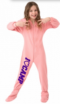 Pink Fleece Kids Footed Pajamas Onesie