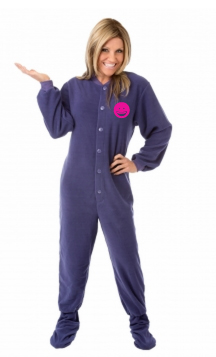 Micro-Polar Fleece Adult Footed Pajamas in Purple