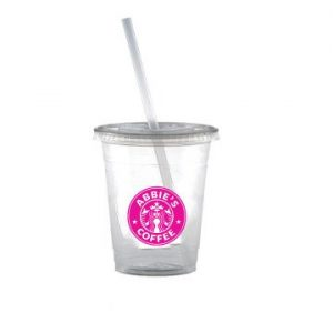 Clear Soft Cup With Lid & Straw