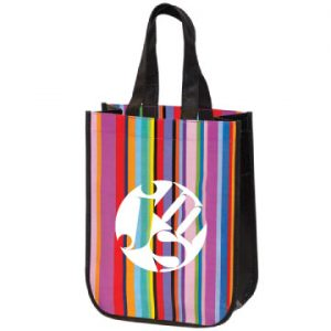 Mini Laminated Multi Striped Tote